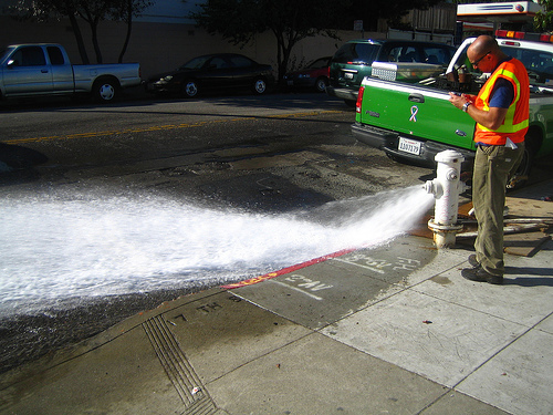 flushing the hydrant